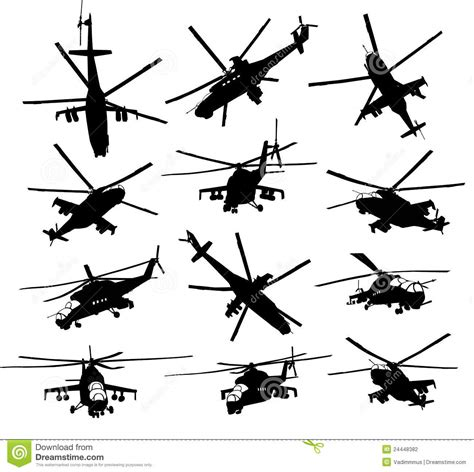 P L Helikopter Set helicopter silhouettes set stock photography image 24448382
