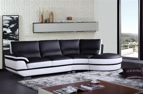 black and white sectional sofa divani casa rapture modern black and white eco leather