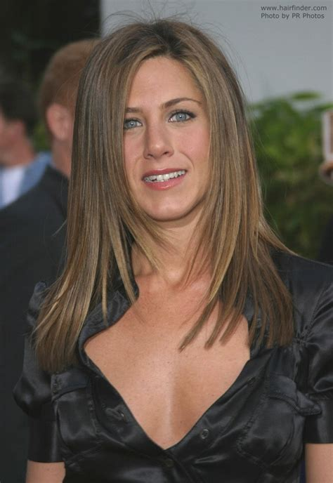 Jennifer Aniston's hair cut in long layers with angles