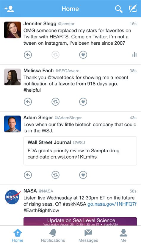 twitter new layout 2015 twitter adds hearts to their new mobile ui test