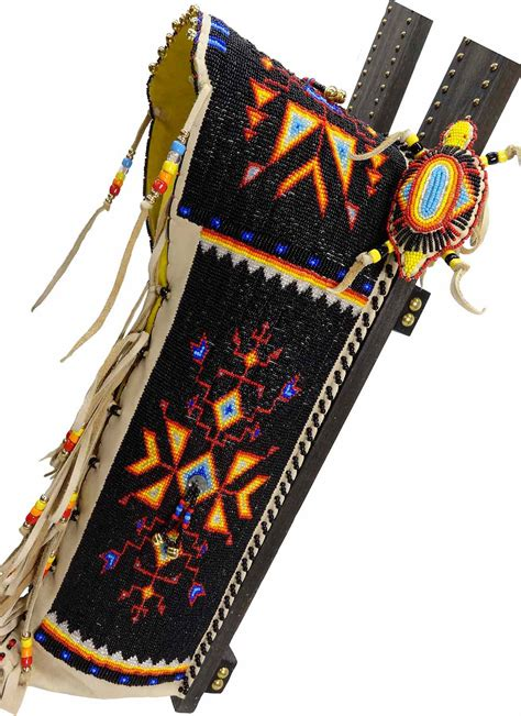 beadwork black black background beaded cradleboard by kevin fast
