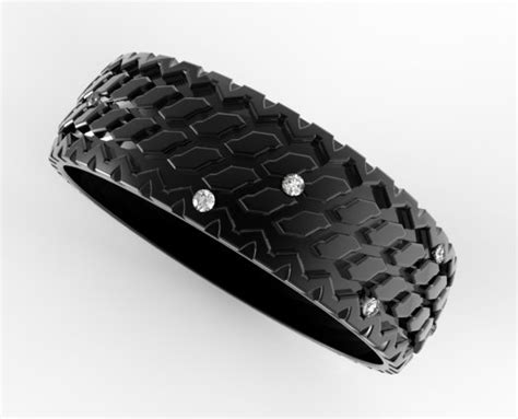 men s tire tread wedding ring in black gold