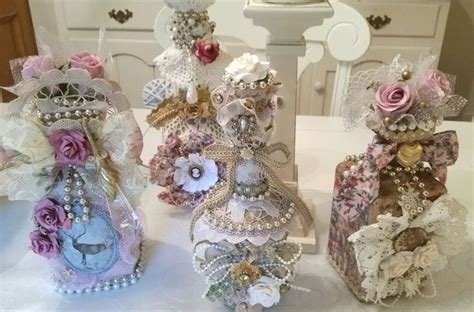 Shaby Mikhayla shabby chic bottle decanters altered bottles and jars