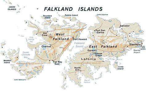 falkland islands on map map of the falkland islands by phonebook of the world