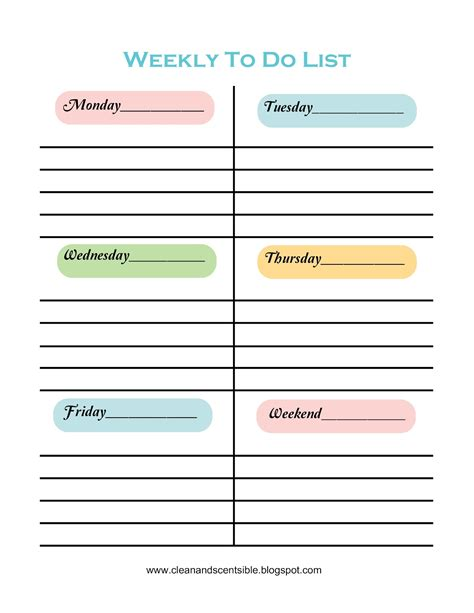 weekly to do list template to do lists clean and scentsible