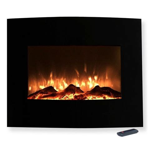 northwest 25 in mini curved electric fireplace with wall