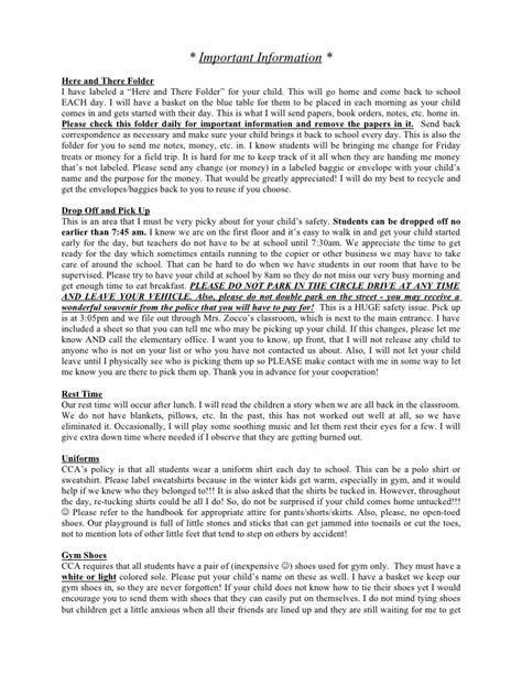 welcome letter important info