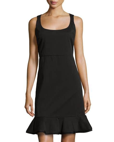 Hem Ruffle Black Valentino Ruffle Hem Sleeveless Scoop Neck Dress In