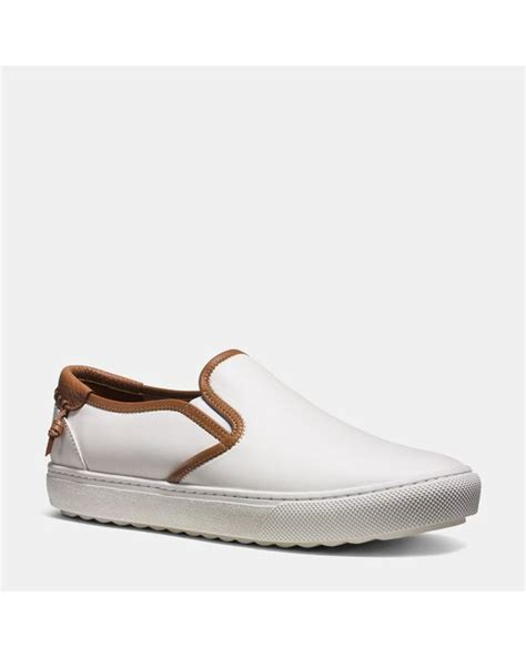 coach slip on sneaker coach union slip on sneaker in white for save 50 lyst