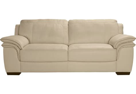 Cindy Crawford Home Grand Palazzo Beige Leather Sofa Beige Leather Sofas