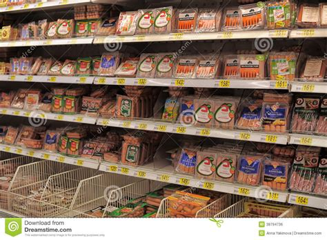 Sausage Shelf by Sausages In The Supermarket Editorial Photo Image 38794736