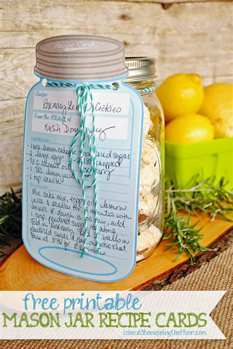 free printable recipe cards gifts jar i should be mopping the floor free printable mason jar