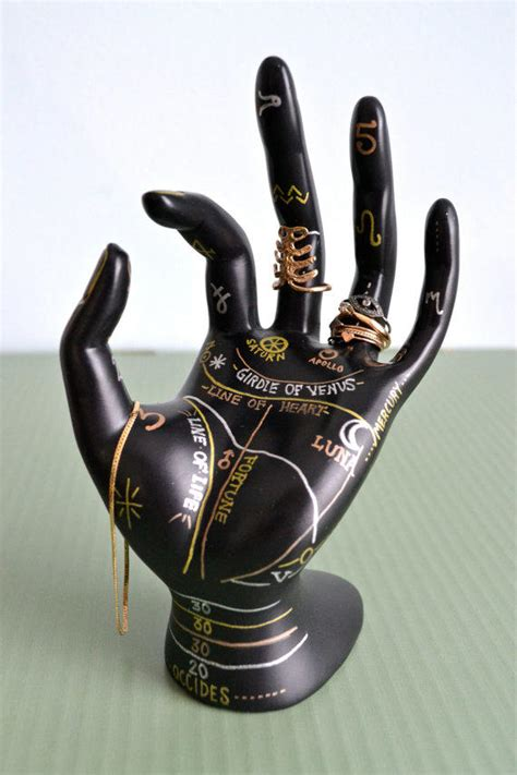 tattoo hand ring holder palmistry jewelry display hand painted from