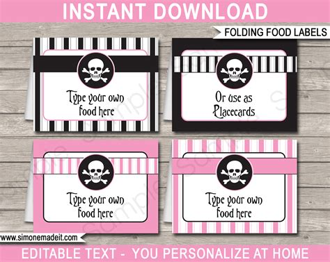 free template food cards skull crossbones tubezzz photos