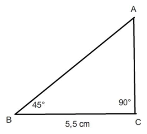 45 grad winkel tangens berechnen in einem dreieck mit 45 grad winkel