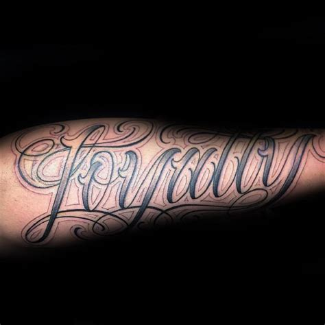 forearm script tattoos for men 50 loyalty tattoos for faithful ink design ideas