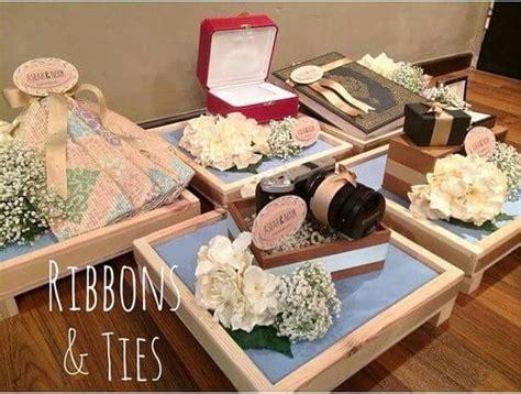 Kotak Cincin Wooden Ringbear Tray ribbon simple hantaran wedding decoration
