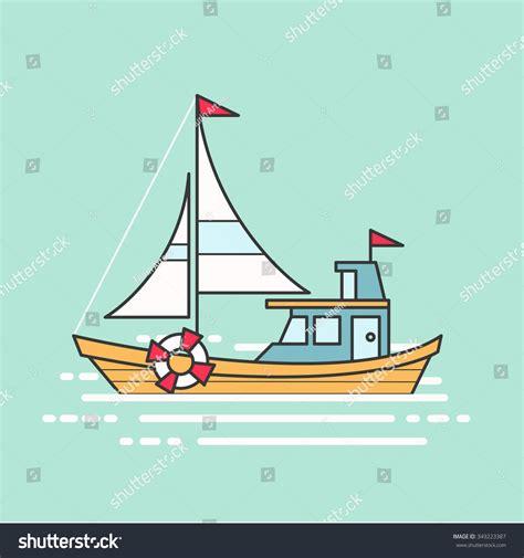 cool boat clipart cool line art flat design boat stock vector 349223387