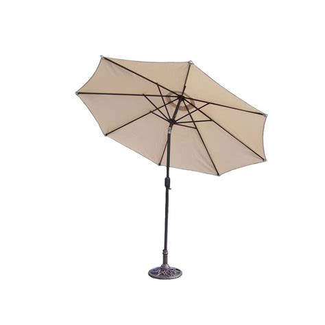 Patio Umbrellas And Stands Oakland Living Mississippi 9 Ft Tiltable Patio Umbrella In Beige With Stand 4005 Bg 4101 Ab