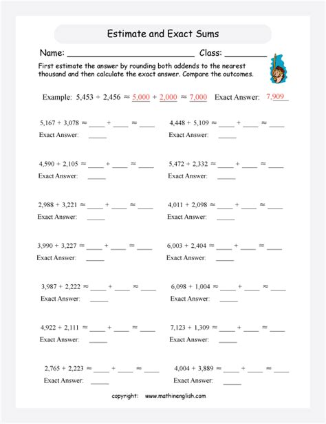 Using Rounding To Estimate Worksheets by Math Estimation Worksheets Grade 3 3rd Grade Rounding