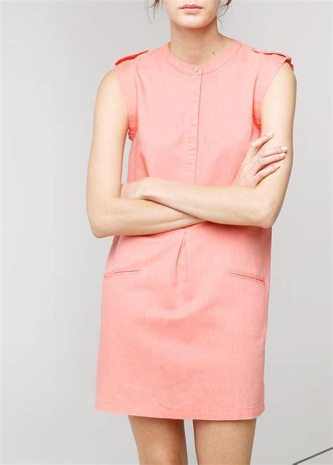 mao dress mango mao collar dress in orange papaya lyst