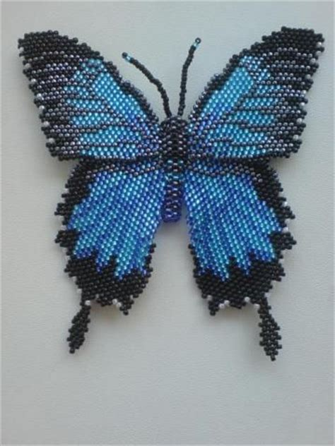 beaded butterfly pattern and butterflies on