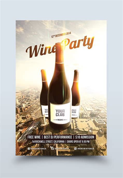 Wine Party Flyer Template On Behance Free Wine Flyer Template