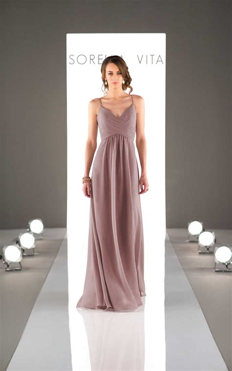 chiffon spaghetti strap bridesmaid dress sorella vita