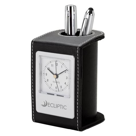 personalized desk clock pen cup artpromos
