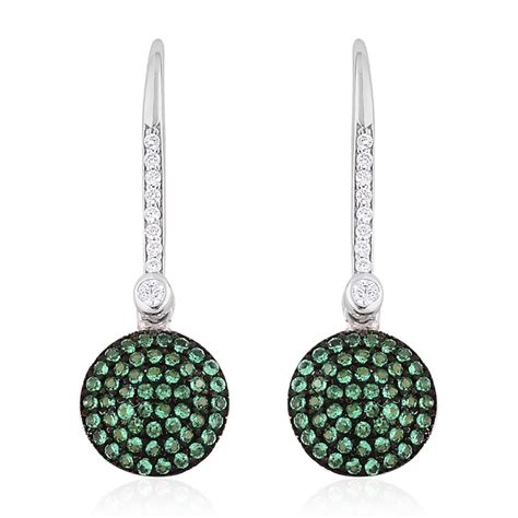 Threader Earrings simulated green and white sterling silver threader