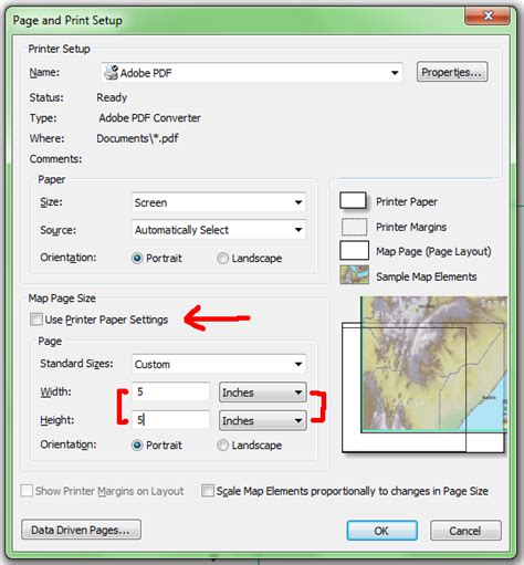 landscape layout view arcmap arcgis desktop setting arcmap layout size based on web