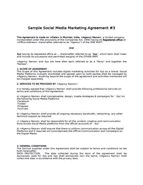 social contract template sle social media marketing agreement free
