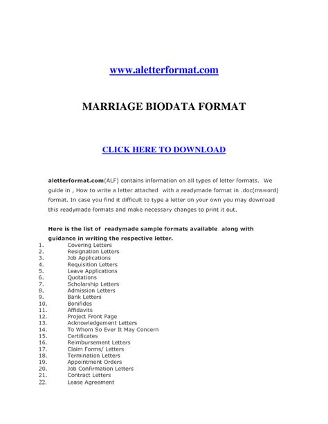 biodata covering letter format biodata format for application latter