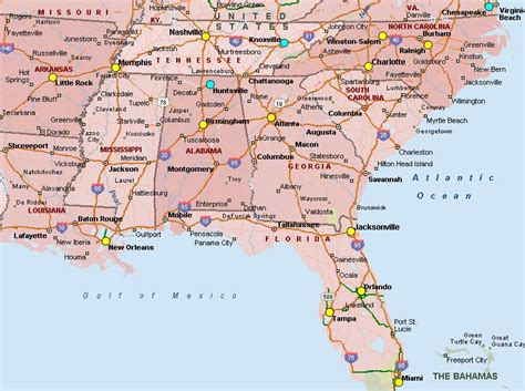 map of southeast usa map highlighted southeast us southeastern united states