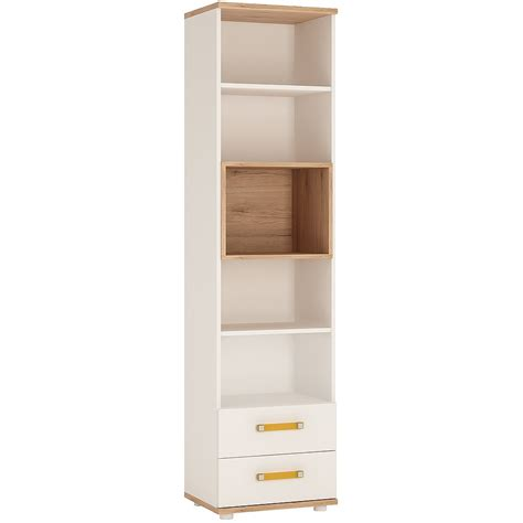 4kids 2 drawer bookcase with orange handles