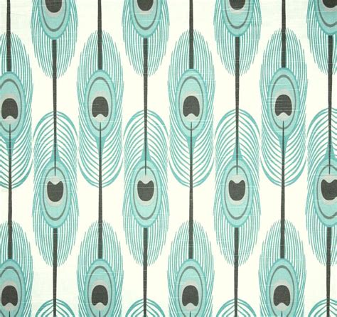 Home Decor Fabrics By The Yard by Aqua Blue Feather Fabric By The Yard Cotton Boho Home Decor