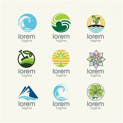 free nature logo design nature logo templates collection vector free download