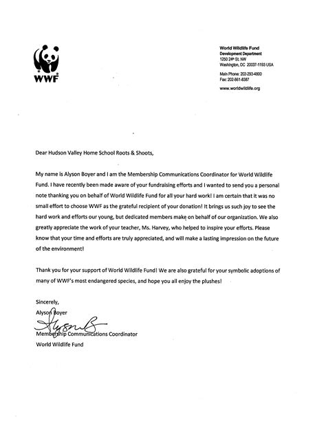 wwf charity letter animals rights hudson valley homeschool roots shoots