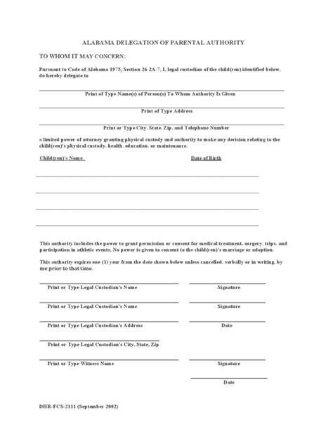 alabama parental   child power  attorney form legalformsorg