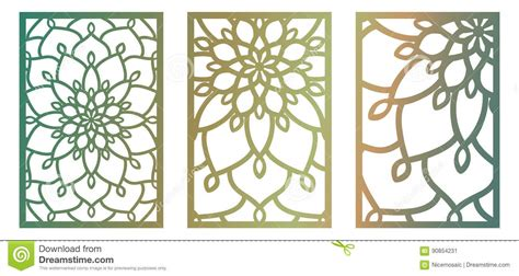 Set Of Vector Laser Cut Panels Abstract Pattern Template For De Stock Vector Illustration Of Artist S Wall Mural Template And Price Sheet