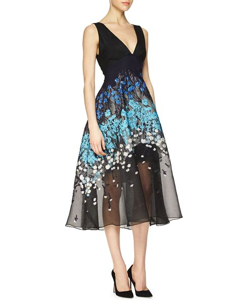 Dress Midi Flower 3 floral embroidered fit and flare combo dress in black lyst