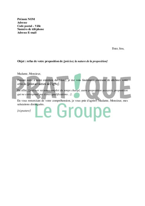Lettre Type Gratuite Commission De Recours Contre Refus De Visa Lettre De Refus D Une Proposition Pratique Fr