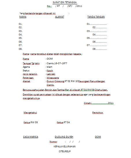 Surat Izin Sekolah Simpel by Contoh Surat Ijin Tetangga Anekacontoh