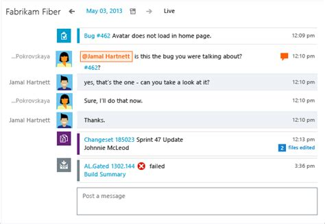 biual chat rooms chat using team rooms tfs microsoft docs