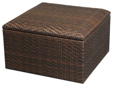 Wicker Brown Indoor Outdoor Storage Ottoman
