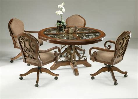 Furniture. The Dinette Set With Caster Chairs for A Cozy