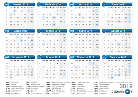 Calendario 2019 Italiano Calendario 2019
