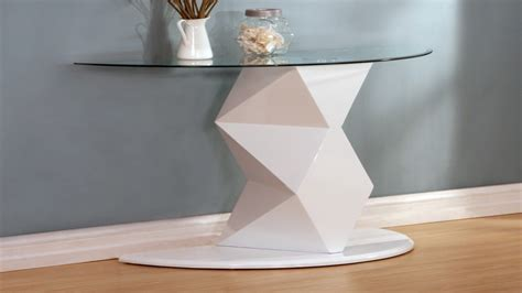 white gloss end white high gloss glass coffee side console table