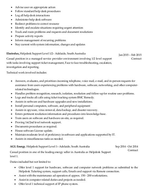 Sle Help Desk Supervisor Resume Help Desk Description Www Exponenthr 28 Images Help