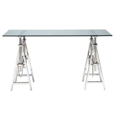 chrome bureau bureau en verre et m 233 tal chrom 233 l 150 cm helsinki
